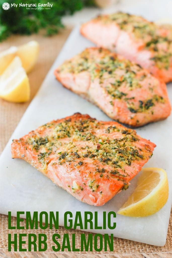 1. Lemon Garlic Herb Crusted Salmon Recipe