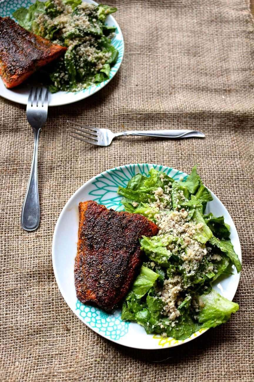 10. Blackened Cajun Salmon with Mayo Free Avocado Caesar Salad Recipe