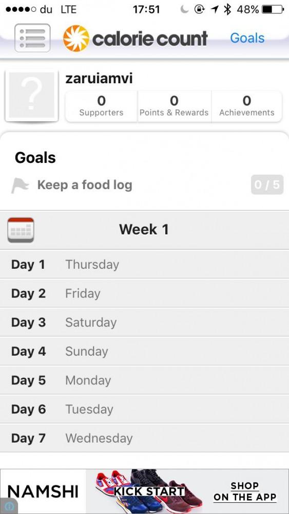 Calorie Count app screenshot