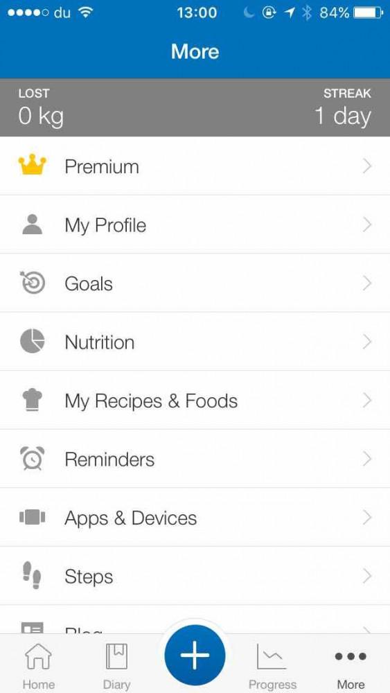 MyFitnessPal app screen