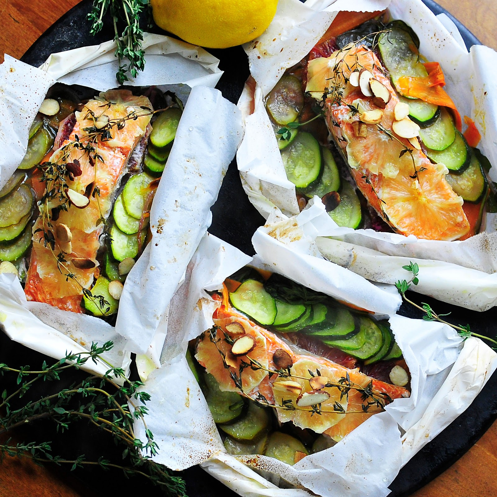 18. Parchment Poached Salmon with Thyme and Oranges